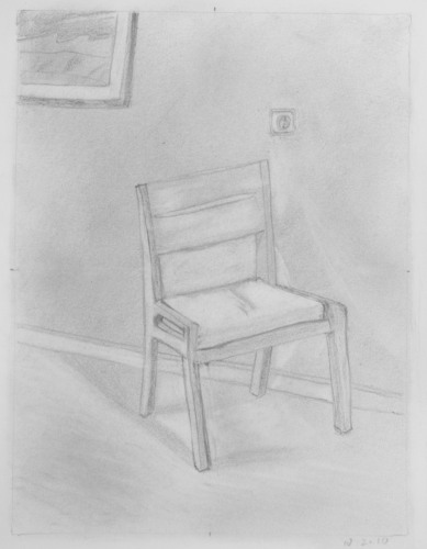 Negative space drawing of a chair, Ben Curtis