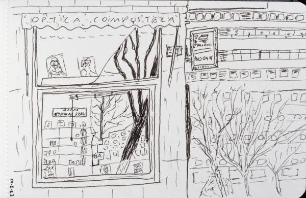 glasses shop sketch, Madrid