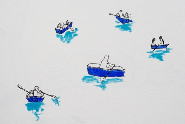 Boats on the lake, Retiro Park Sketch