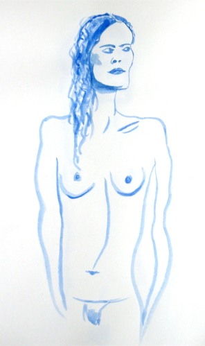 Life-drawing in Madrid, blue nude