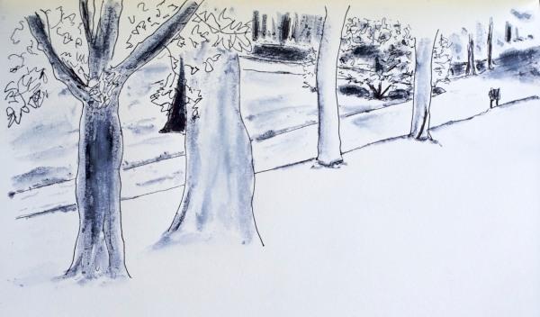 Retiro park, fountain pen